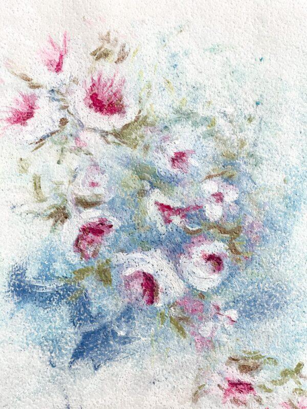 Obraz na papierze waflowym. Ręcznie malowany.